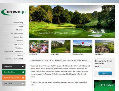 Crown Golf Websites refresh